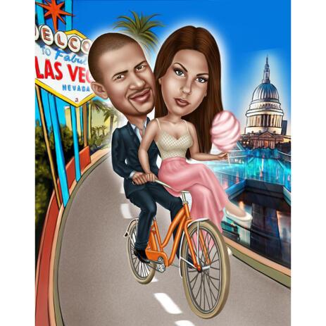 Карикатура пары на велосипеде нарисованная с фото - example