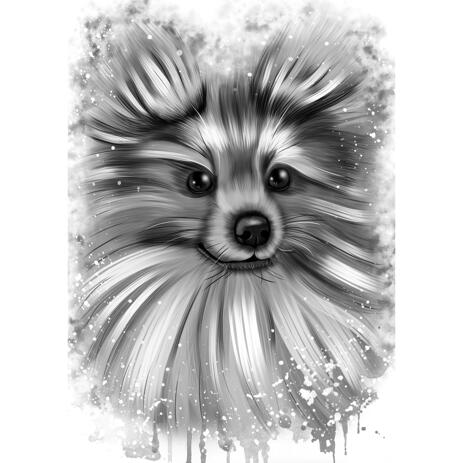 Pomeranian Dog Cartoon Portrait in Watercolour Graphite Style - example