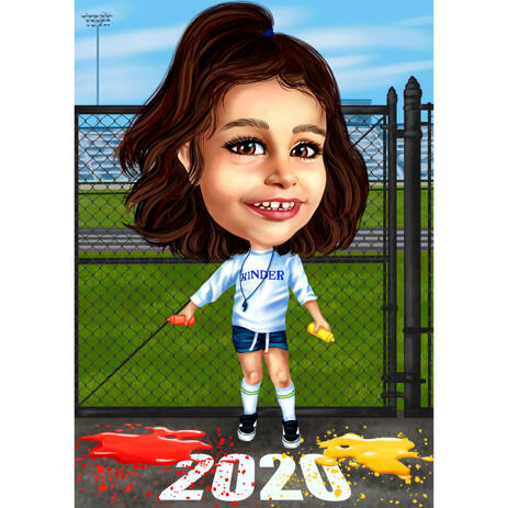 Sport Themed Custom Kinder Caricature in Colored Style from Photos - example
