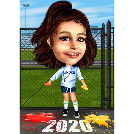 Caricatura Kinder personalizada com tema esportivo em estilo colorido a partir de fotos - example