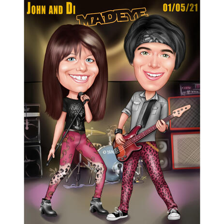 Couple Rock Music Band Caricature from Photos on Custom Background - example