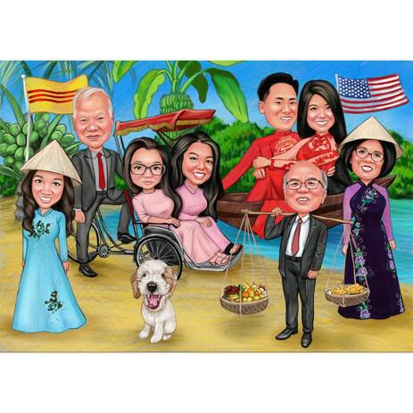 Семейная групповая карикатура в традиционных костюмах на цветном фоне - example