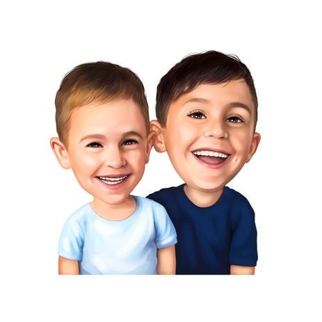Caricatura de irmãos amigáveis em estilo de cores, desenhada à mão de fotos - example