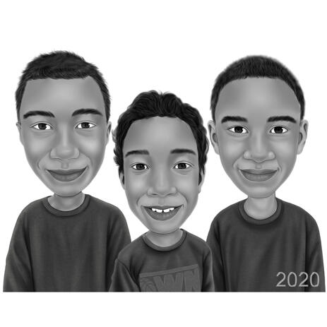 3 Brothers Cartoon Caricature in Black and White Digital Style from Photos - example
