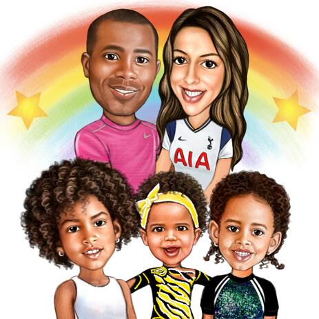 Fully Customizable Family Sports Cartoon Caricature Drawing from Photos - example