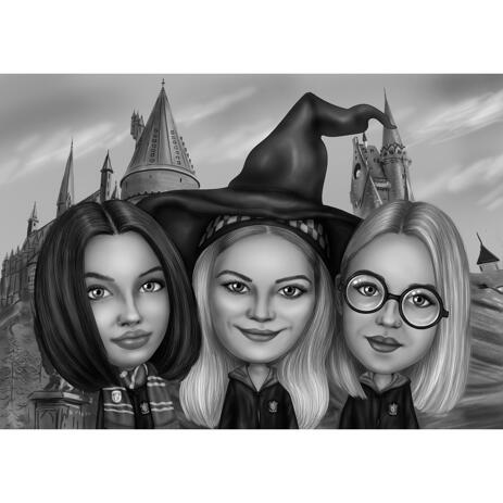 Halloween Witchcraft Group Caricature Portrait from Photos with Custom Background - example