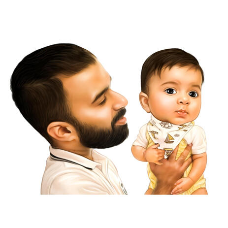 Father with Baby Colored Caricature Hand Drawn from Photos - example