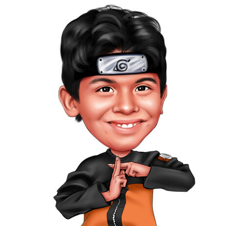 Head and Shoulders Kid Caricature from Photos in Naruto Anime Themed Style - example