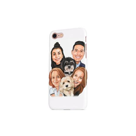 Family with Pets Caricature as Phone Case - example