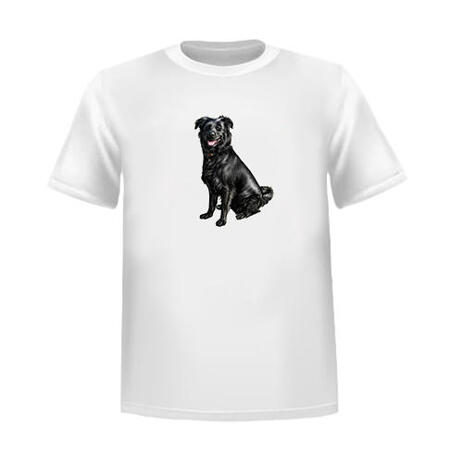 Full Body Dog Portrait in Colored Style from Photos as T-shirt Print - example