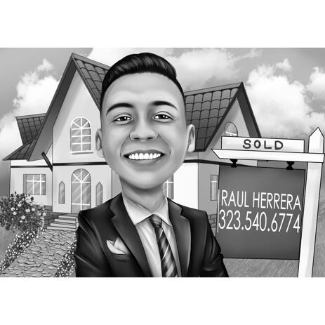 Realtor Cartoon Logo in Black and White Style with Background - example