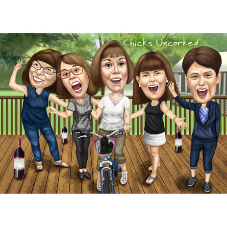Funny Bridesmaids Caricature for Custom Wedding Gift - example
