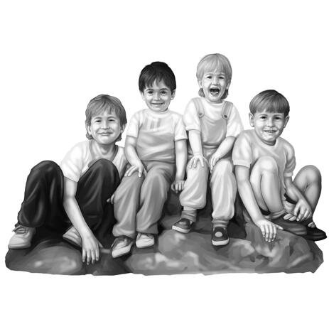 Family Kids Portrait from Photos in Black and White Style - example
