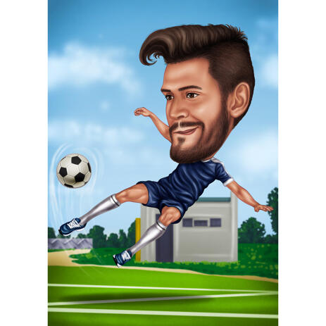 Customized Man Soccer Player Caricature from Photo - Perfect Personalized Gift - example