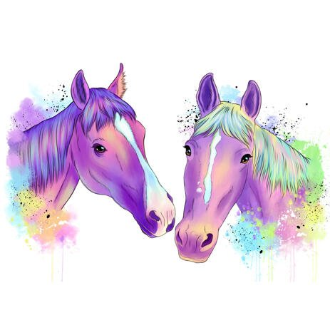 Two Horses Portrait in Graceful Pastel Watercolor Style from Photos - example
