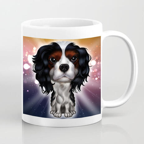Pet Cartoon Portrait from Photos in Colored Style on Mug Print - example
