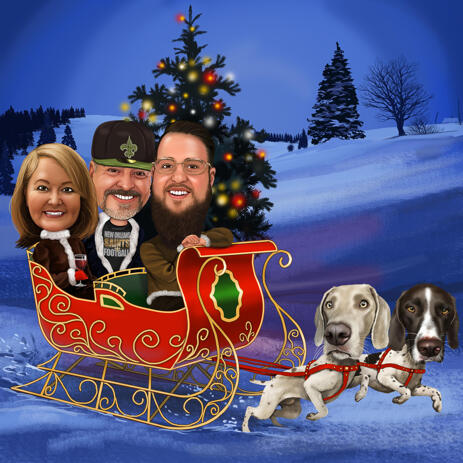 Santa's Sleigh Christmas Caricature with Dogs and Christmas Tree Background - example