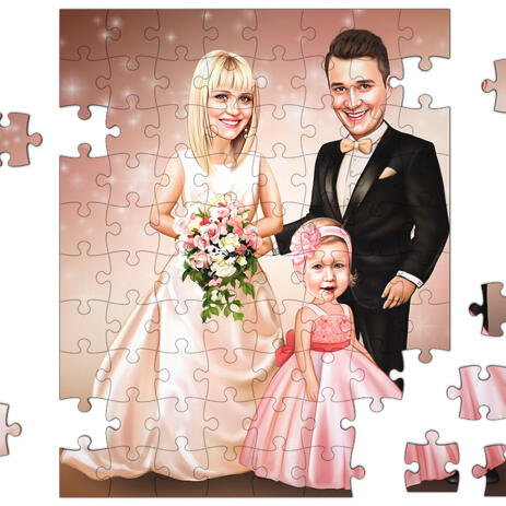 Caricature of Bride, Groom and Child for Wedding - example