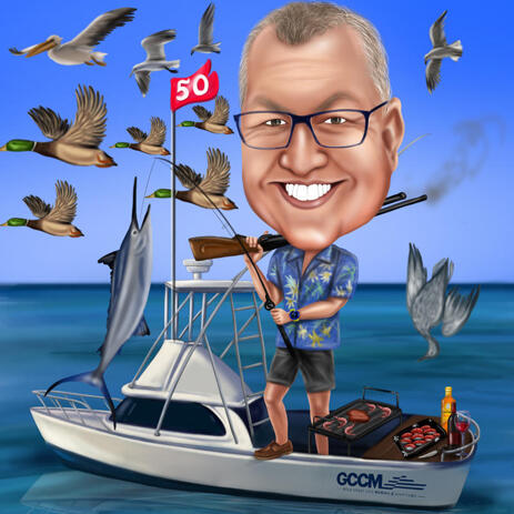 Full Body Fisherman on Boat - Custom Fishing Caricature Gift - example