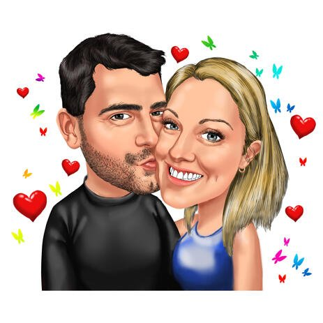Kiss Me - Couple Colored Caricature with Hearts and Butterflies Background - example