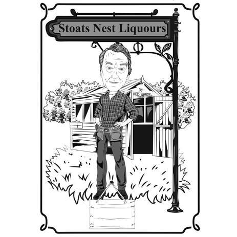 Esboço de caricatura de trabalhador manual em estilo de contorno preto e branco com fundo personalizado - example