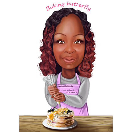 Baker Cartoon Portrait Caricature for Sweets Shop Bakery Logo Design in Color Style from Photos - example
