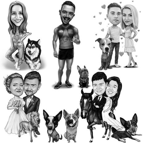 Full Body Owner with Any Pet Caricature in Black and White Style - example