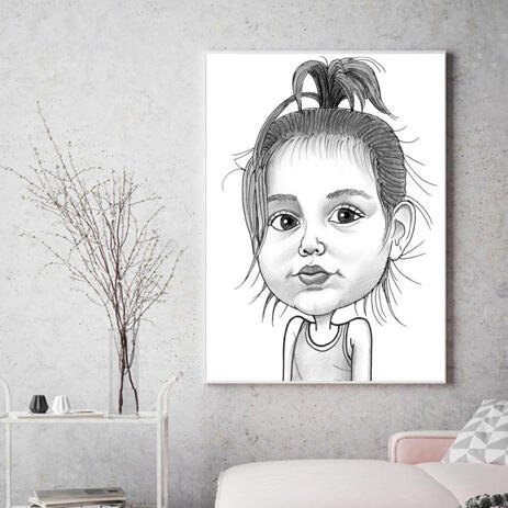 Baby Girl Caricature Printed on Canvas - example
