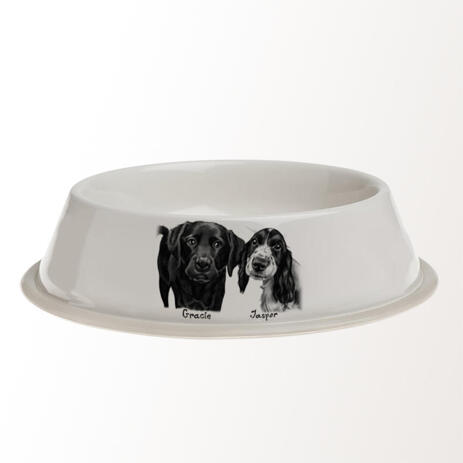 Dogs Caricature Drawing on Pet Bowl - example