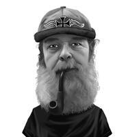 Man rookpijp karikatuur van foto's in zwart-wit stijl