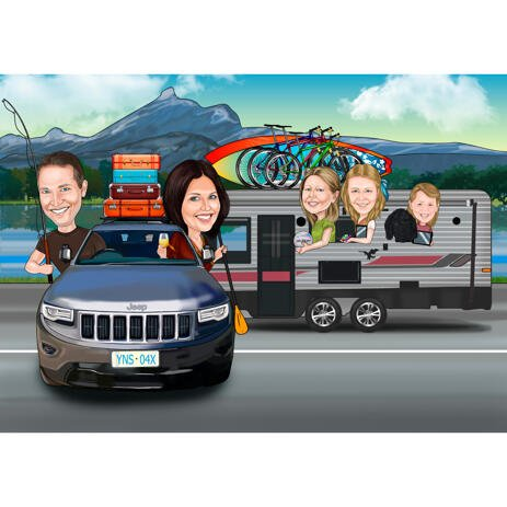 Family Caricature with Any Vehicle in Colored Digital Style from Photos - example