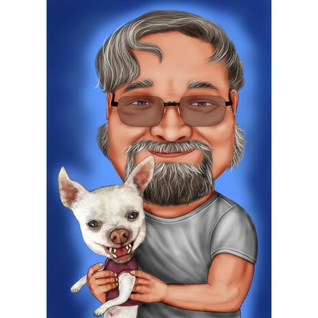 Owner with Chihuahua Caricature Drawing with One Colored Background - example