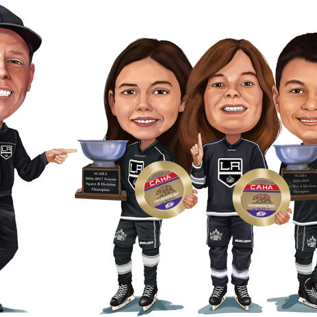 Sport Team Caricature in Colored Digital Style - example