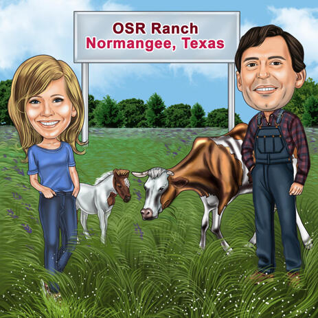 Farming Couple Caricature in Colored Style with Custom Background - example