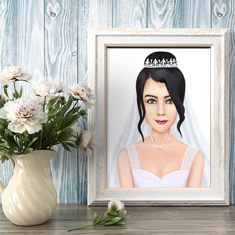 Custom Bride Drawing from Photos as Poster - example