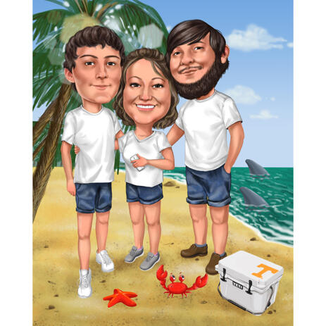 3 Persons Vacation Style Caricature from Photos - example