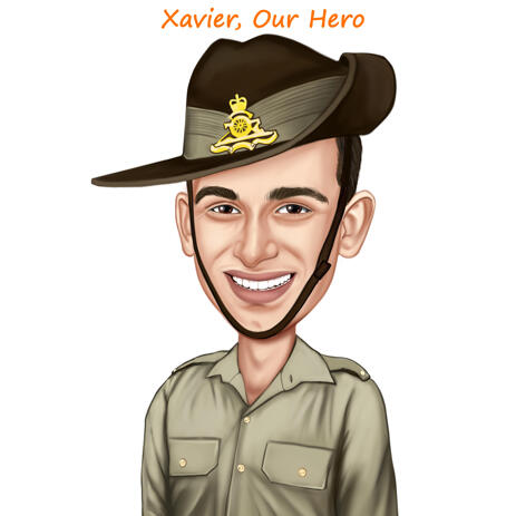 Colored Caricature in Army Clothing for Military Gift - example