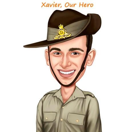 Цветная карикатура военного в обмундировании для подарка - example