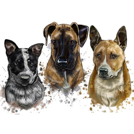 Group Dogs Portrayal Cartoon Watercolor Nature Tint Shading from Photos - example