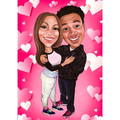 Valentine's Day Couple Exaggerate Style Caricature Gift with Pink Background - example