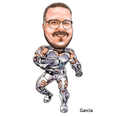 Person Superhero Caricature in Cyborg Costume in Color Style from Photos - example