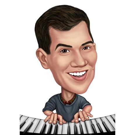 Pianistkarikatyrporträtt i färgstil från foto för pianospelargåva - example