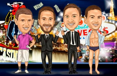 Vegas Groomsmen Cartoon Gift Drawing