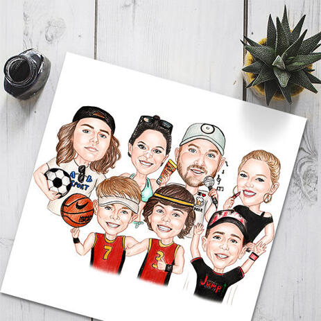 Sport Team Caricature from Photos Hand Drawn in Colored Style - Poster Print - example