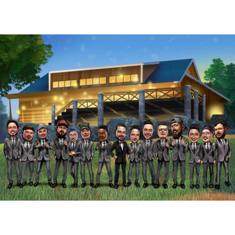 Custom Groomsmen Caricature in Color Style for Party Invitation Card - example