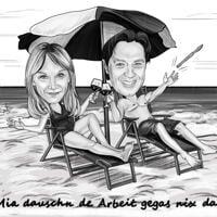 Caricatura di coppia in vacanza in stile matita bianco e nero con sfondo spiaggia