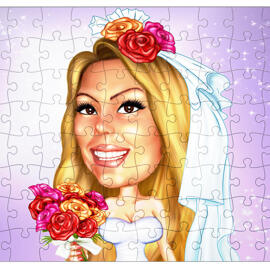 Custom Bride Drawing from Photos as Puzzle