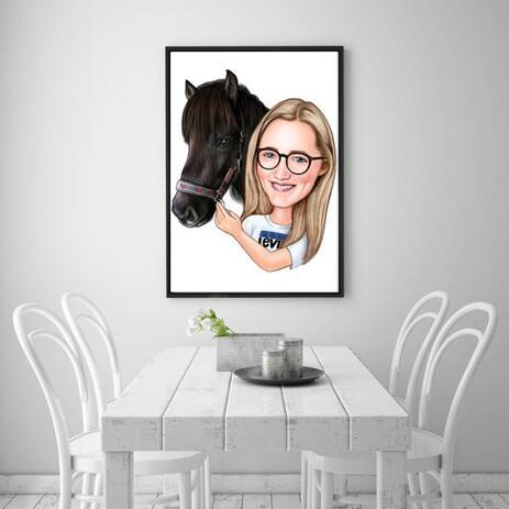 Meitenes un zirga karikatūra iespiesta kā plakāts - example