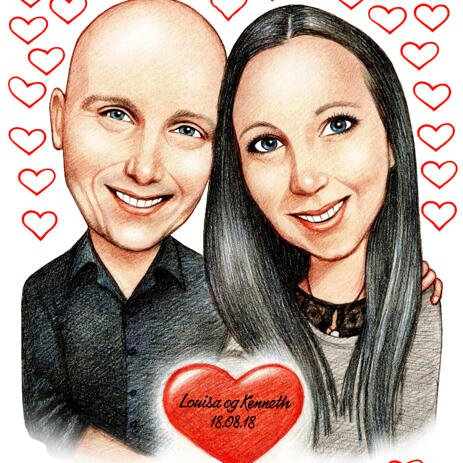 Romantic Couple Caricature from Photos with Custom Background - example