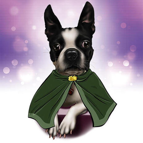 Superhero French Bulldog Caricature Portrait with Colored Background - example